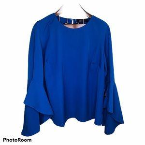 NWT Eloquii Cobalt Blue Flare Bell Sleeve Blouse